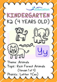 Animals - Rain Forest Animals (I): Letter Y(ee) - K2 (4 years old)
