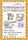 Animals - Rain Forest Animals (III): Letter Z - K2 (4 years old)