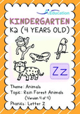 Animals - Rain Forest Animals (IV): Letter Z - K2 (4 years old)