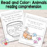 Animals Read and Color Reading Comprehension Worksheets - Grade 1 / Kindergarten