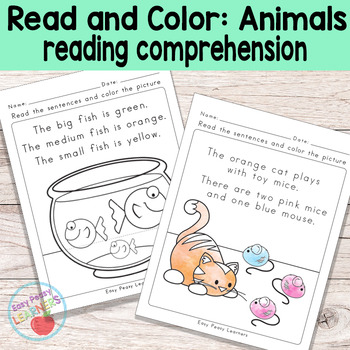 Animals Read And Color Reading Comprehension Worksheets Grade 1
