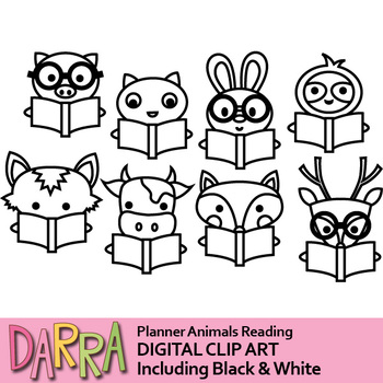 Animals Reading Clip Art