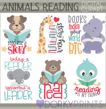Animals Reading with Positive Wordart Clipart