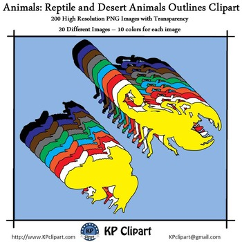 Animals Reptiles and Desert Animals Outlines Clipart