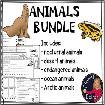 Animals Resource Bundle (ocean, endangered, nocturnal &, Arctic, desert)