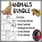 comprehension animals Bundle (ocean, endangered, nocturnal