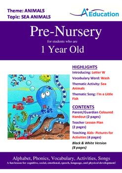 Animals - Sea Animals : Letter W : Wash - Pre-Nursery (1 year old)