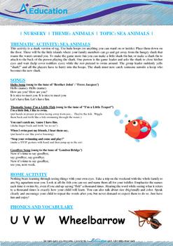 Animals - Sea Animals : Letter W : Wheelbarrow - Nursery (2 years old)