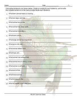 Animals Sentence Finishers Worksheet