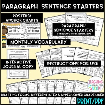 Animal Report Sentence Starters, Informative Writing, ANY Animal, Science, Fall