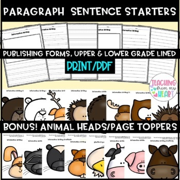 Animal Report Sentence Starters Informative Writing, ANY Animal, Science