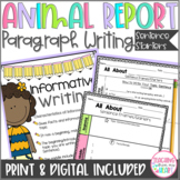 DIGITAL Animal Report Paragraph Sentence Starters & Craft,