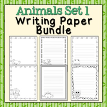 Animals Set 1 Black and White Writing Paper Bundle
