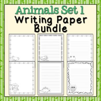 Animals Set 1 Black and White Writing Paper Bundle