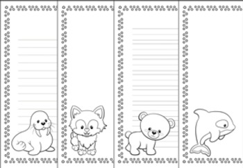 Animals Set 2 Black and White Writing Paper Bundle