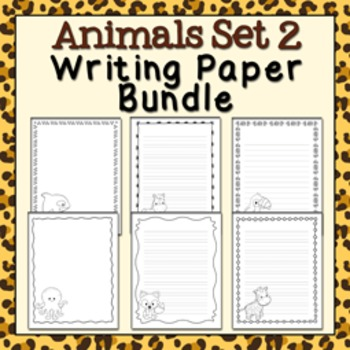 Animals Set 2 Black and White Writing Paper Bundle