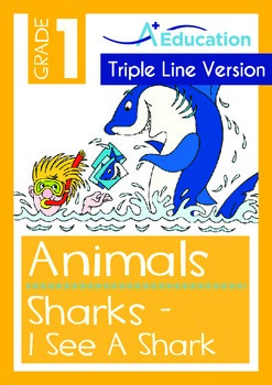 Animals - Sharks (III): I See A Shark (with 'Triple-Track Writing Lines')