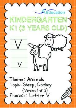 Animals - Sheep, Donkey (I): Letter V - K1 (3 years old)