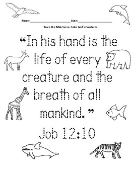 Animals - Short Bible Verse Printable: Job 12:10