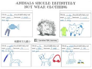 Animals Should Definitely Not Wear Clothing Writing Worksheet