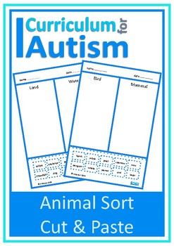 Animals Sort Cut Paste Autism Special Education
