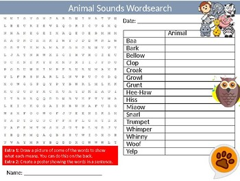 Animals Sounds Wordsearch Puzzle Sheet Keywords Biology Vocabulary