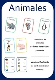 Animals / Animales - 41 Flashcards and 10 Worksheets