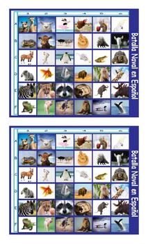 Animals Spanish Legal Size Photo Battleship Game