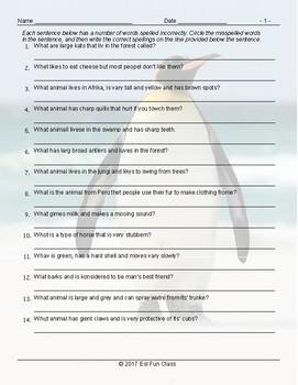 Animals Spelling Hunt Worksheet
