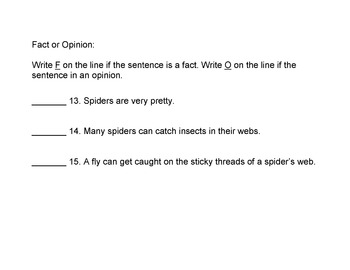 Animals: Spiders Reading in Science Content w/ 12 True False + 8 Fact Opinion Qs