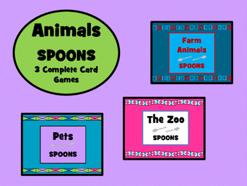 Animals - Spoons Card Games Bundle- 3 Complete ESL Card Games