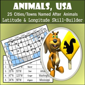 Latitude & Longitude Worksheet - Animals, USA