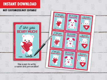 Animals Valentine's Day Gift Tags, Dog, Cat, Teddy Bear School Exchange Ideas