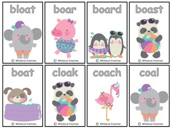 "Animals Vowel Teams Card Game (Long ""o"")"