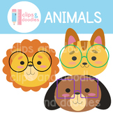Animals Wearing Glasses Clipart Set