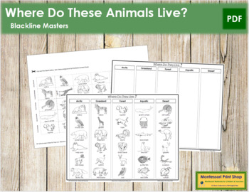 Animals - Where Do They Live? - Blackline Masters