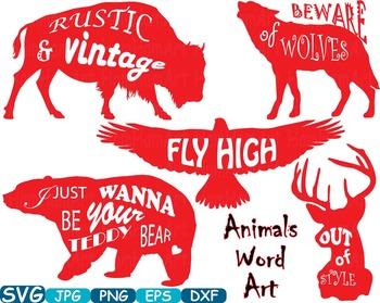 Animals Word Art clip art Bear Eagle Deer Wolf Bison silhouette t-shirt  -265s