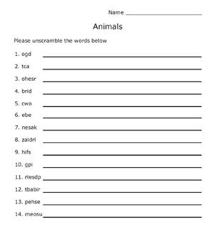 Animals Word Scramble