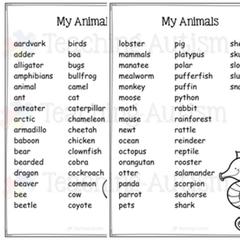 Animals Word Search Activity