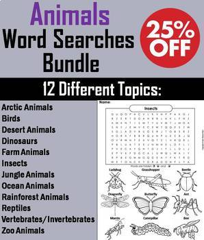 Animals Word Search Bundle