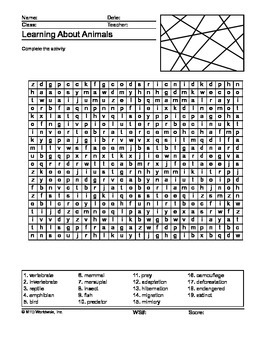 Animals Word Search Printable