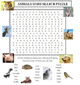 Animals for Kids Word Search Puzzle