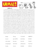 Animals Word Search - difficult with coloring page   (SUB PLAN use?)