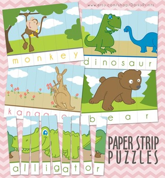 Animals Word Strip Puzzles