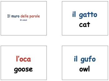 Animals Word Wall in Italian in Key Note