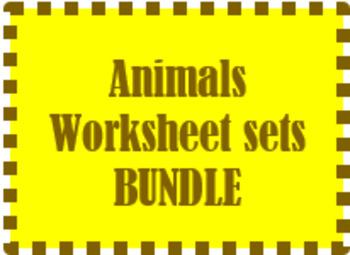 Animals Worksheet sets in Spanish Bundle