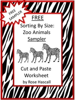 FREE Animals Zoo Sorting Cut and Paste Kindergarten Math Worksheets Morning Work