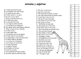 Animals and Adjectives in Spanish/ Animales y Adjetivos en español