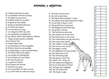 Animals and Adjectives in Spanish/ Animales y Adjetivos en español ...