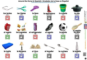 Spanish Animals and Common Objects (108 images with spelling and audio)